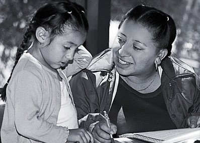 Woman and child learning